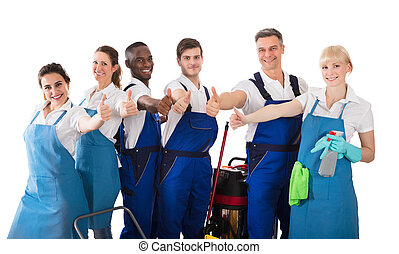 Portrait Of Janitors Gesturing Thumbs Up