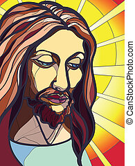 Portrait of Jesus Christ in stained glass