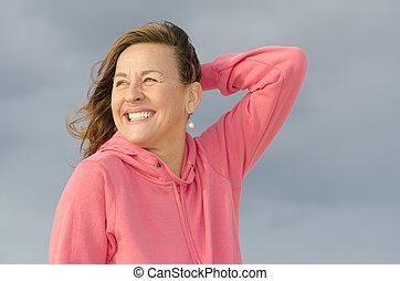 Portrait of joyful and happy mature - Portrait of an...
