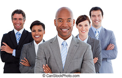 Portrait of joyful business team against a white background