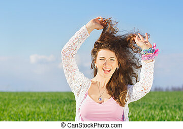 Portrait of joyful lovely young woman