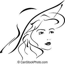 Portrait of lady in hat