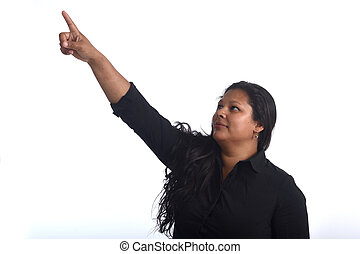 portrait of latin woman pointing on white