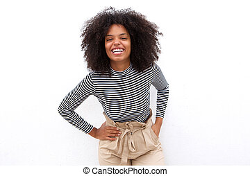 laughing african american woman in striped shirt