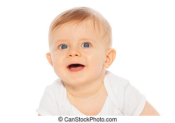 Portrait of laughing baby on the white background