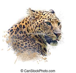 Portrait of Leopard .Watercolor illustration