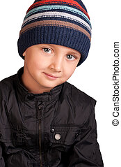 portrait of little boy in hat