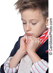 Portrait of little boy posing on white background