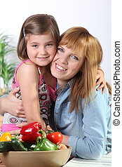 Portrait of little girl and her mom