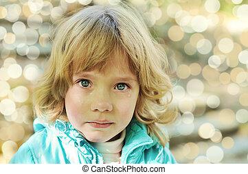 true tears - Portrait of little girl crying with true tears