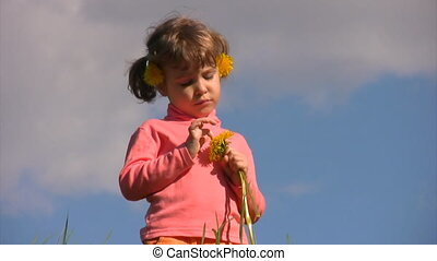 little girl with field flowers stands in meadow