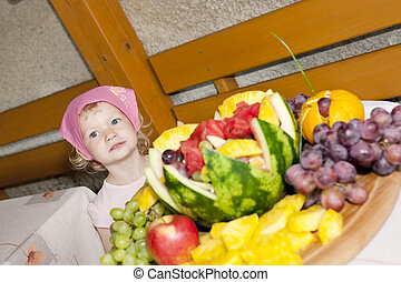 portrait of little girl with fruit