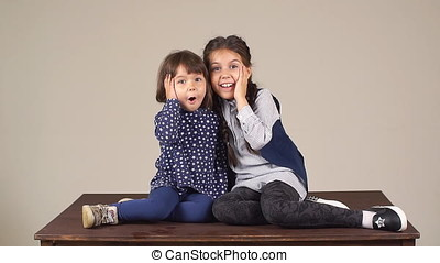 Portrait of little sisters. Two little girls fooling around...