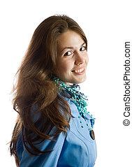 long-haired brunette girl - portrait of long-haired brunette...