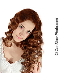 Portrait of long haired girl - Portrait of curly long haired...