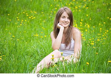r girl in grass