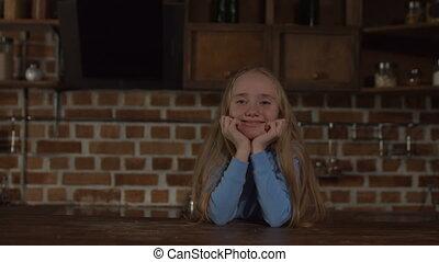 Portrait of lovely blonde little girl smiling - Portrait of...