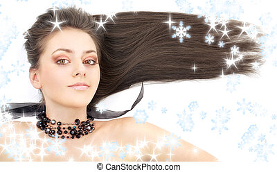 lovely brunette in black collar with snowflakes