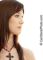 lovely brunette with cross