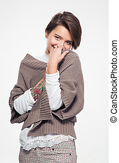 Portrait of lovely cute shy woman with tatoo on hand -...