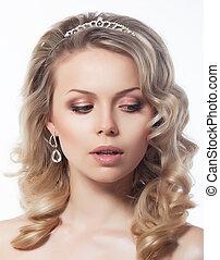 Portrait of lovely female blond hair model