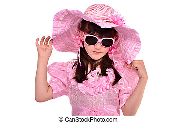 Portrait of lovely girl wearing pink dress, hat and glasses