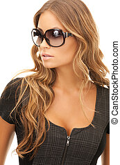 woman in shades - portrait of lovely woman in shades over ...