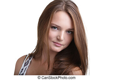 Portrait of lovely young woman with perfect skin