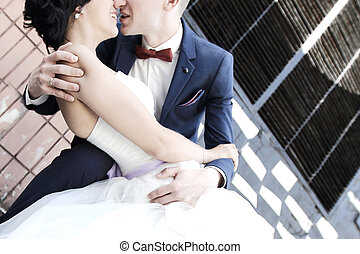 portrait of loving couple in the wedding day.