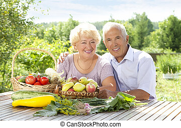 Portrait of loving couple - Portrait of elderly couple with...