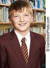 Portrait Of Male Elementary School Pupil In Uniform