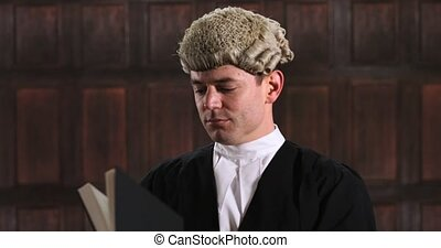 Portrait Of Male Lawyer In Court Reading Law Book