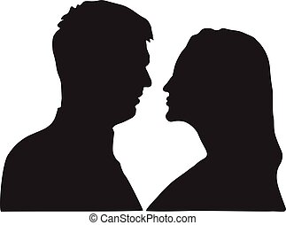 Portrait of man and woman in love, silhouette.