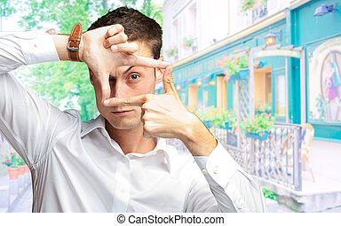 Portrait Of Man Gesturing