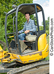 Portrait of man in digger