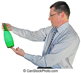 portrait of man in glasses with a bottle