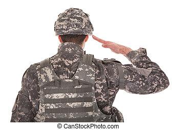 Portrait Of Man In Military Uniform Saluting - Man In...