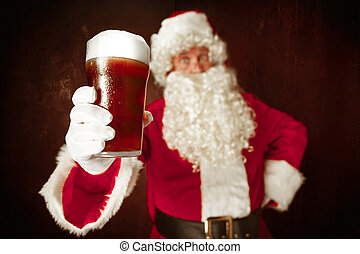Portrait of Man in Santa Claus Costume - with a Luxurious...