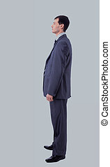 Portrait of man looking away isolated on white background -...