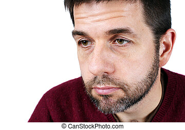 Portrait of man looking down