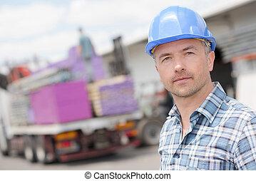 Portrait of man on contruction site