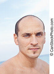 Portrait of  man on the beach