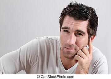 Portrait of man on white background
