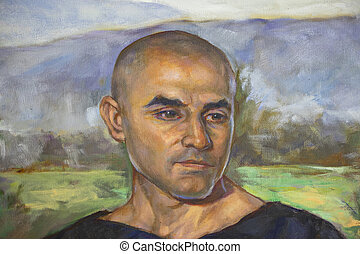 portrait of man painted on canvas
