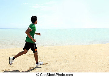 Man running on the beach