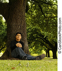 Portrait Of Man Sitting By Tree 2