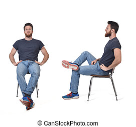 portrait of man sitting on a chair front and profile