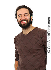 Portrait of man smiling on white background