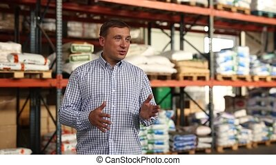 Portrait of man talking about compost soil for gardening in ...