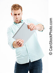 Portrait of man using tablet computer isolated on white background